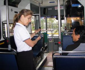 Karen Armstrong training bus drivers in NSW