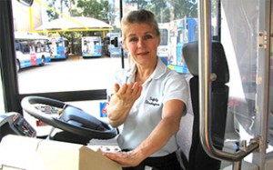 Karen Armstrong training bus drivers in safety strategies